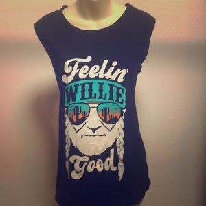 Women's sleeveless Willie Nelson top